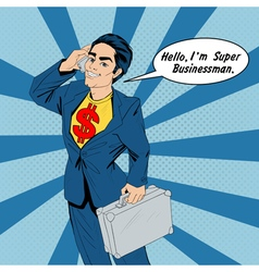 Banner with Super Businessman vector image
