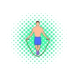 Man jumping with skipping rope icon comics style vector image