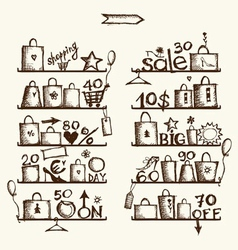 Shopping bags on shelves big sale vector image