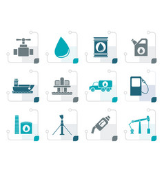 stylized oil and petrol industry objects icons vector image