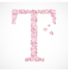 T letter Alphabet from pink petals of rose vector image vector image