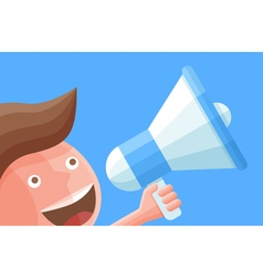 Cartoon businessman character with megaphone vector image vector image
