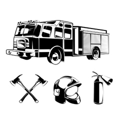 Firefighters elements for labels or logos vector image vector image