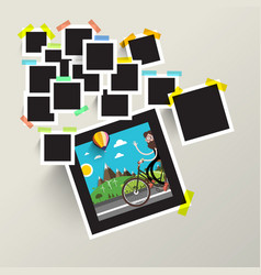 photo frames with man on bike picture vector image