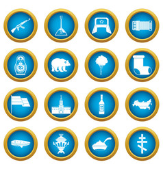 russia icons blue circle set vector image