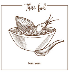 Tom yam in deep bowl from thai food vector
