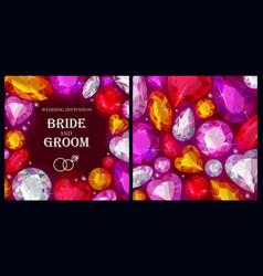 Wedding invitation with varicolored gems vector