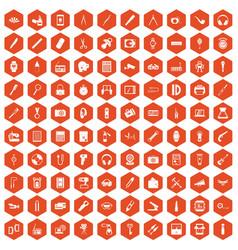 100 portable icons hexagon orange vector