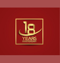 18 years anniversary with square and swoosh vector