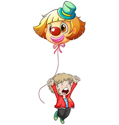 A happy young man holding a clown balloon vector image