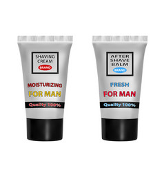 a set of shaving cream and after shave balm vector image