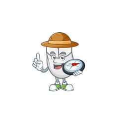 A white mouse explorer cartoon having a compass vector