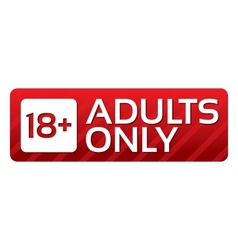 Adults only content button red sticker vector image