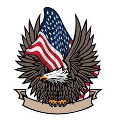 American flag with bald eagle and banner vector