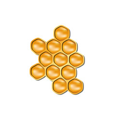 bee honeycomb in orange design with shadow vector image