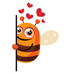 Bee in love looking behind wall on white vector