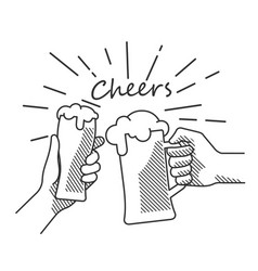 beer cheers hand bw vector image
