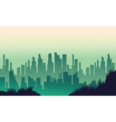 Big urban silhouettes on green backgrounds vector