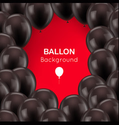 black balls frame red background vector image