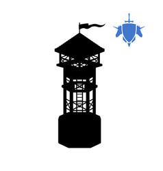 Black silhouette of human tower fantasy object vector