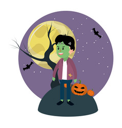 Boy with frankenstain costume and full moon vector