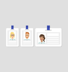 business id cards with cheerful human faces set vector image