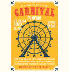 carnival funfair colored poster in flat style vector image