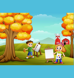Cartoon kids painting in farm background vector