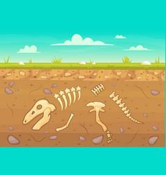 cartoon reptile bones ground archeology buried vector image