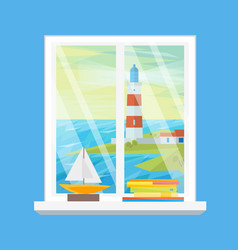 cartoon windows lighthouse view vector image