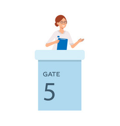Cheerful woman in glasses at gate check-in vector
