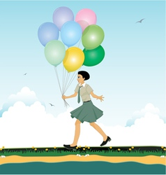 Child holding balloons vector image