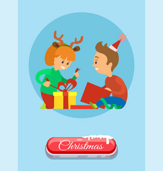 christmas holidays children opening present vector image