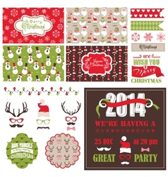 Christmas Retro Party Set - cards ribbons labels vector