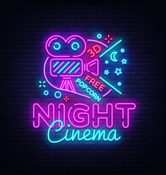 cinema night neon sign movie night design vector image