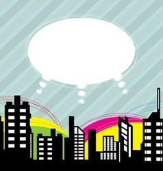 city with speech balloon vector image