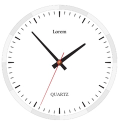Classic clock without numbers placed on white vector