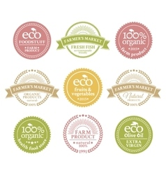 Collection of 6 badges in retro style vector