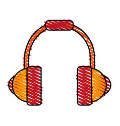 Colorful crayon silhouette of headset stereo sound vector
