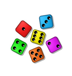 Coloured playing dices with shadow vector
