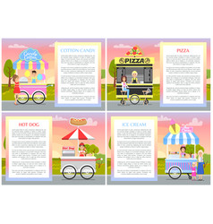 Cotton candy pizza hot dog and ice cream stands vector