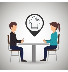 couple sitting dinner vector image