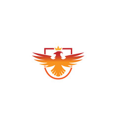 creative phoenix bird shield logo vector image