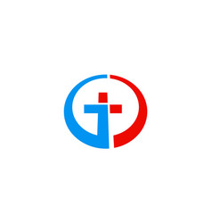 cross round technology logo vector image