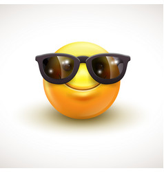 cute smiling emoticon wearing black sunglasses vector image