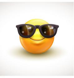 cute smiling emoticon wearing black sunglasses vector image