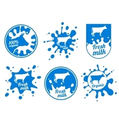 Dairy vintage logos milk badges cheese vector image