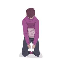 Depressed boy sitting on floor guy naving mental vector