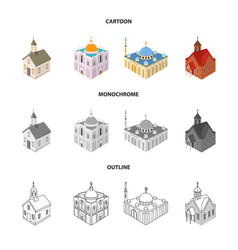 design temple and historic logo set of vector image