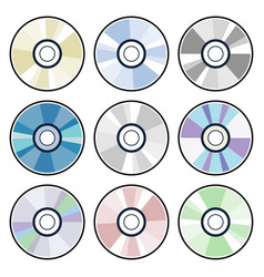 dvd or cd disc icons vector image